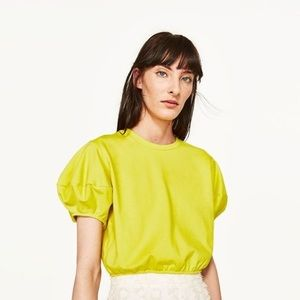 NWOT Zara Cropped Yellow puff Sleeve Sweatshirt